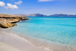 Alcudia beach in Cala San Pere from Balearic Mallorca
